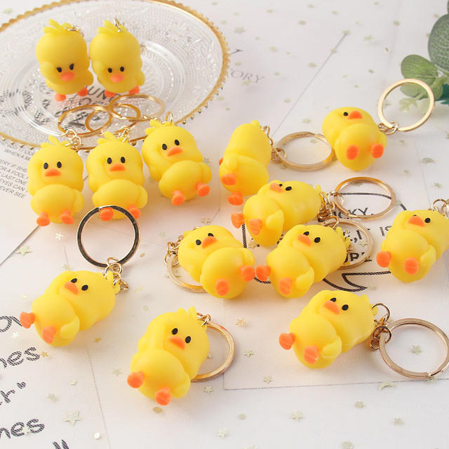 Promotional personalized plastic keychains custom make pvc 3D duck keychain